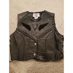 Vanguard Leather Motorcycle Cropped Vest Size (M)